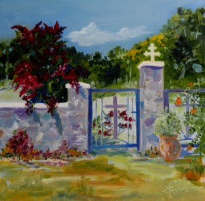 This gate is part of the beautiful Tharri Monastery on Rhodes, in Greece. I choose it to be my first painting of the challenge.