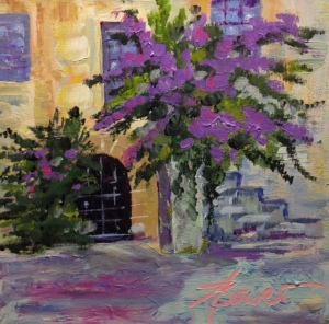 "Painting #3-""Rhodes Old Town"" 6"" x 6"" Acrylic on museum quality panel."