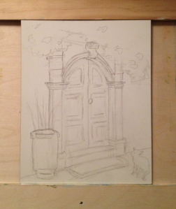 pencil sketch-Must be Lunch Time-Lindos, Rhodes