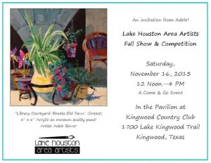 Email invitation to fall art show for Blog 11-9-13