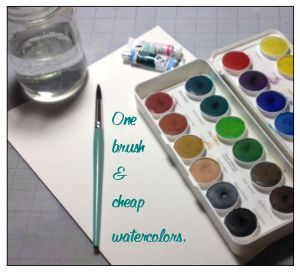 One brush & cheap watercolors