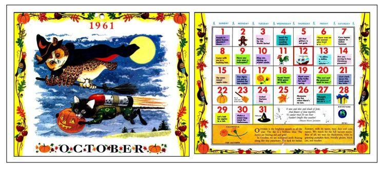 October 1961 calendar for blog or FB